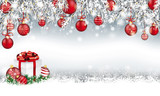 Christmas Header Twigs Red Baubles Gift