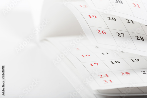 Calendar pages close up business time concept Poster