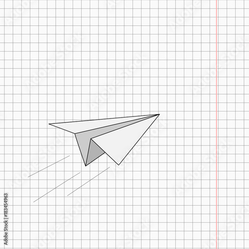 White Origami Paper Plane On The Notebook Sheet Background Buy