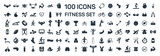 fitness and sport 100 isolated icons set on white background - 183457146