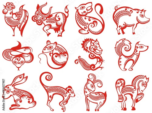 Chinese zodiac animals in paper cut style  © ksysha