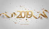Happy New Year 2019. Golden numbers with ribbons and confetti on a white background.  - 183460315