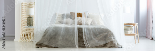 King-size bed under mosquito net - 183460534