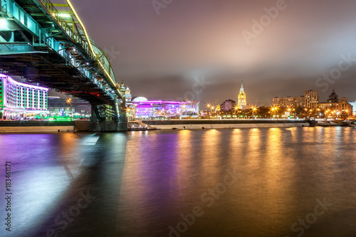 Fotobehang Moskou Beautiful cityscape, Moscow at night, the capital of Russia, city lights and reflection in the river