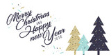 Christmas and New Year greeting card. Flat design vector illustration template for greeting cards, website and mobile banners, marketing material. - 183462322