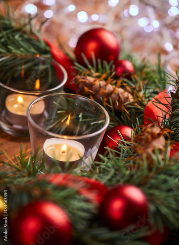 christmas wreath with red and golden balls - 183463394
