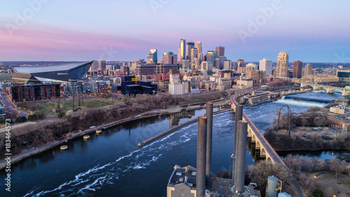 Minneapolis Skyline at Sunrise - Cityscape - Aerial