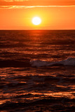 romantic sunset on the sea shore, - 183467392