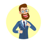 Hipster Businessman showing thumb up and pointing the finger at himself - 183473349
