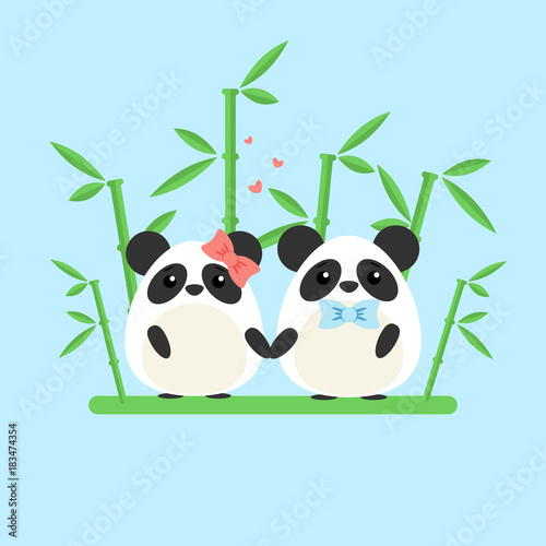 Vector illustration of panda couple in love with ornate bamboo isolated on blue background. Romantic design elements and heart symbols with animals in flat style for Valentine day - 183474354