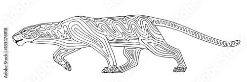 Fototapeta Decorative stylized panther wildcat. Vector wild animal. Isolated on white background.