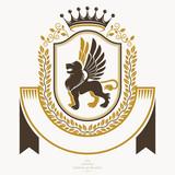 Vintage award design, vintage heraldic Coat of Arms. Vector emblem. - 183478792