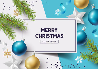 Christmas Composition with fir branches, christmas baubles and snowflakes on a colorful abstract background. Top view vector illustration.
