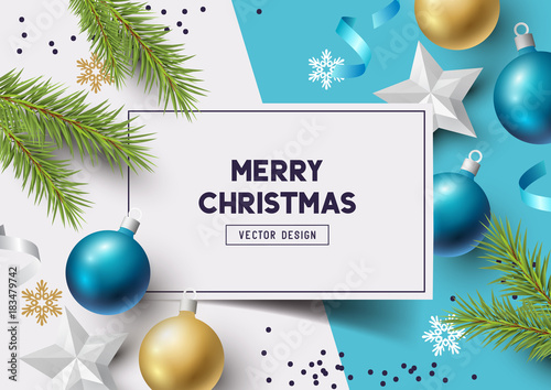 Fototapeta Christmas Composition with fir branches, christmas baubles and snowflakes on a colorful abstract background. Top view vector illustration.