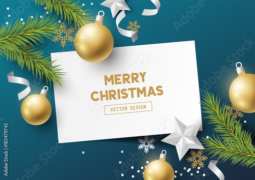Fototapeta Festive Christmas Composition with fir branches, christmas baubles and snowflakes on a colorful abstract background. Top view vector illustration.