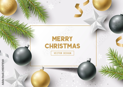 Christmas Composition with fir branches, christmas baubles and snowflakes on a colorful abstract background. Top view vector illustration. - 183479760