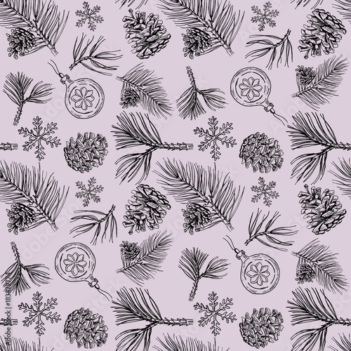 Winter holiday seamless pattern with hand drawn pine branches, cones and decorations.