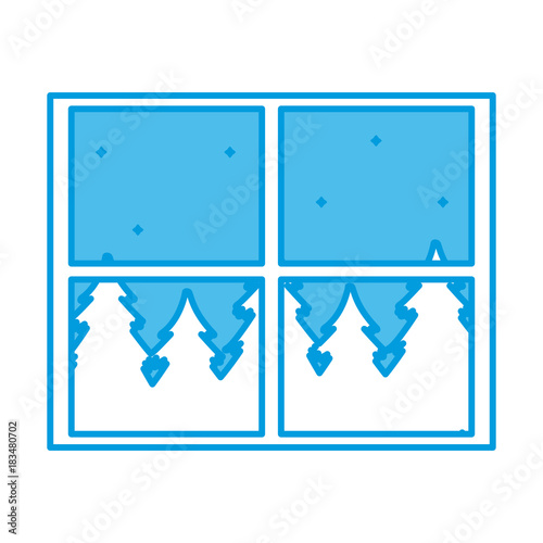 Fotobehang Blauw Window forest landscape icon vector illustration graphic design