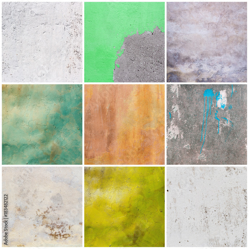 Poster Big collection of old grunge textures backgrounds