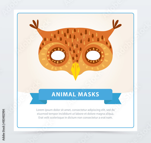 Staande foto Uilen cartoon Masquerade mask of owl. Colorful bird s head. Element of children s theater or carnival. Flat vector design for greeting card, invitation, poster or flyer