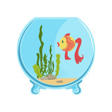 Round glass aquarium with golden fish. Different green algae and little stones on sand. Aquatic concept. Isolated flat vector icon for card or flyer - 183483590