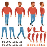 Flat vector of bearded man constructor for animation. Full length back, front and side view. Body parts arms, legs, hand gestures. Collection of shoes and sneakers - 183484369
