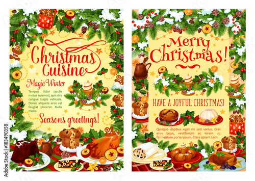 Sticker Christmas holiday food poster with dinner dish