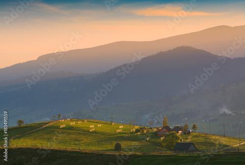 Tuinposter Herfst Alpine carpathian mountain village