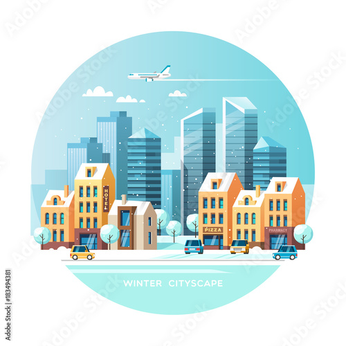 Winter city. Winter landscape with a road, houses and modern skyscrapers. Vector illustration.