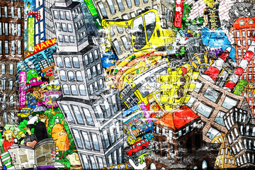 City, an illustration of a large collage, with houses, cars and people
