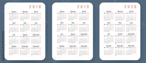 Pocket calendar template 2018, 2019, 2020, Monday