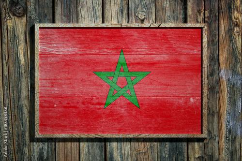 Fotobehang Marokko Wooden Morocco flag