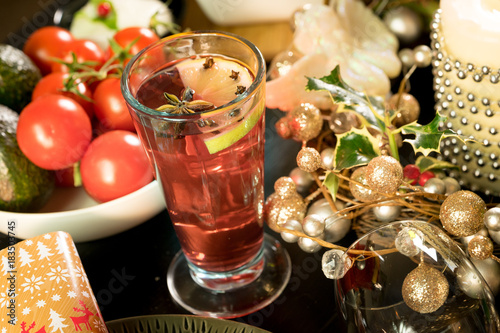 christmas festive table food drink decorated for sharing candle punch hot
