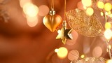 Christmas and New Year golden decoration. Abstract blinking holiday background. Slow motion 4K UHD video footage. 3840X2160 - 183507385