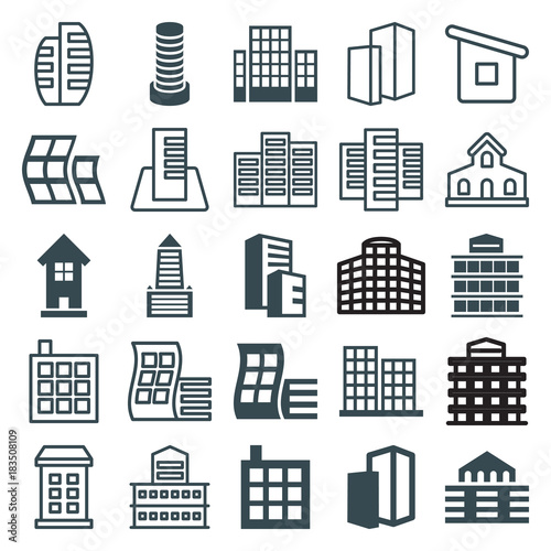 Set of 25 skyscraper filled and outline icons
