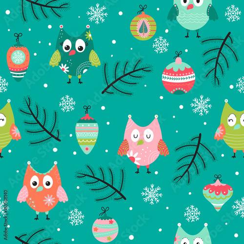 Foto op Aluminium Uilen cartoon Pattern with owl in Christmas time
