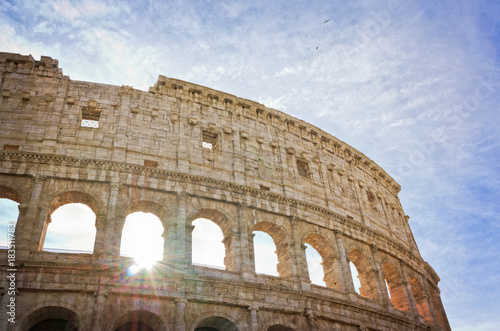 View of  the Colosseum in Rome - Italy with copy space