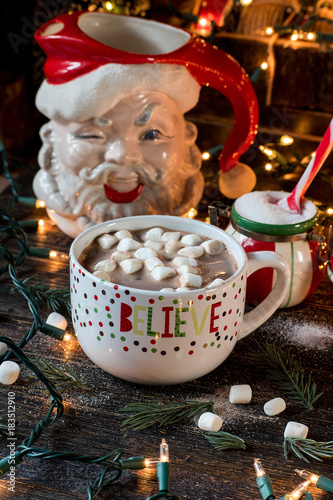 Foto op Canvas Chocolade Hot chocolate Christmas mug with holiday scene