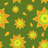 Seamless color pattern with hand-drawn abstract flowers.
