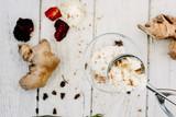 Delicious summer dessert - ginger ice cream on white - 183514737