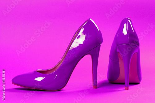 purple high heels shoes - 183515381