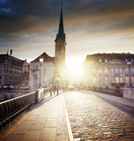 city center of Zurich with famous Fraumunster Church, Switzerland - 183518797