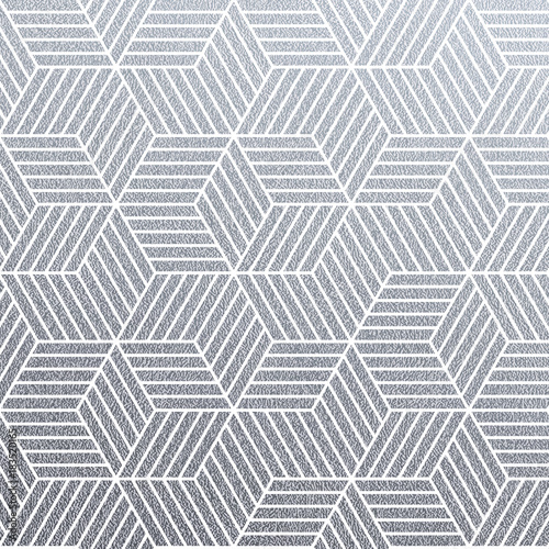 Geometric silver 3D cubes seamless pattern with glitter texture of abstract line mesh on white background. Vector silver glittering ornament for woven textile tile or modern backdrop swatch design - 183520165