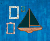 frames,sea composition, travel concept, blue sea background, decorative sailing ship, frames with seashells - 183520585