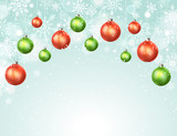 Happy holidays greeting card template. Modern New Year Christmas balls  with snowflakes on blue background. Merry Christmas vector illustration with copyspace. - 183521774