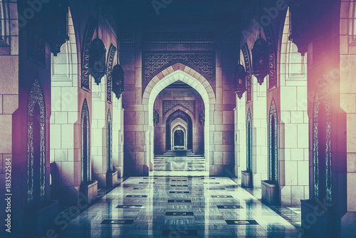 Archway inside of Grand Mosque, Sultanate of Oman
