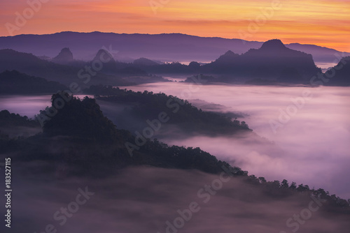 Plexiglas Thailand foggy landscape in north of Thailand with twilight sky