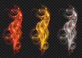 Set of golden, white and red swirls of glittering lines with hearts on transparent background. Transparency only in vector file - 183529585