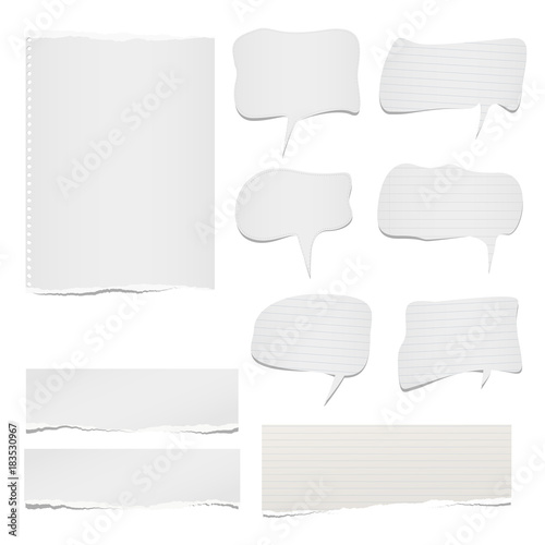 Ripped lined and blank note, notebook paper sheets with speech bubble for text or message stuck on white background
