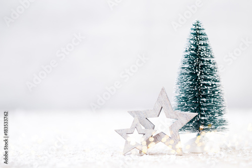 Foto Murales Christmas tree and gray background.